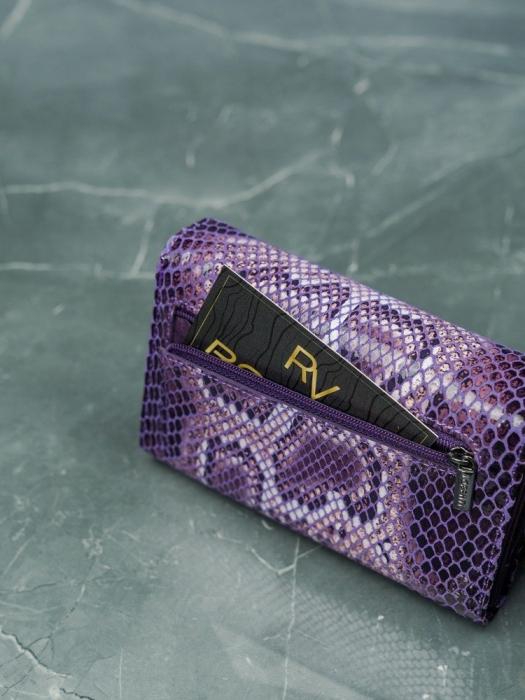 Portofel de lux pentru dama din piele naturala PORTG009 model sarpe, Lila 12