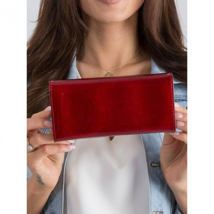 Portofel de lux pentru dama din piele naturala PORTG015, Rosu 4