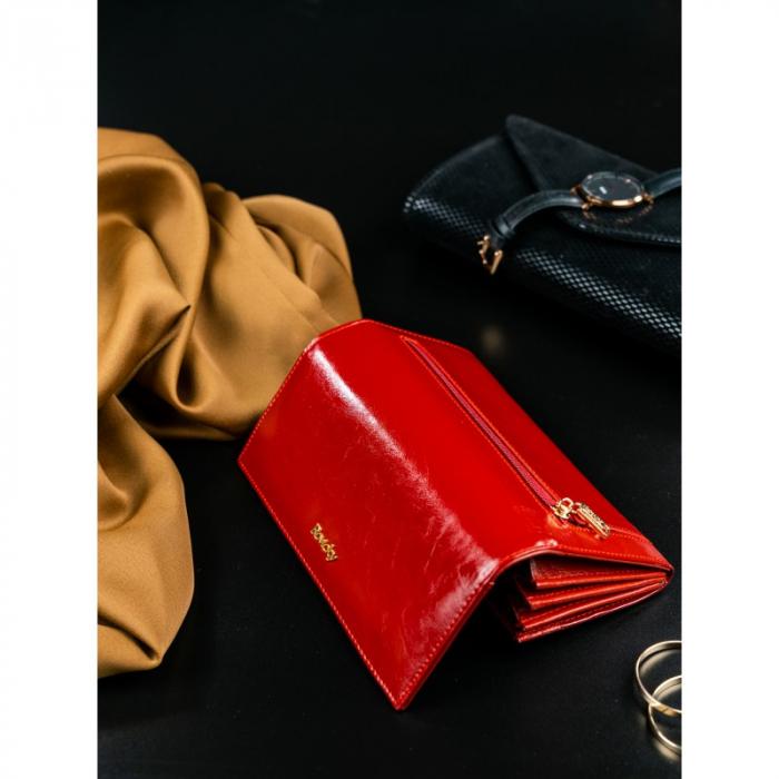 Portofel de lux pentru dama din piele naturala PORTG020, Rosu [7]