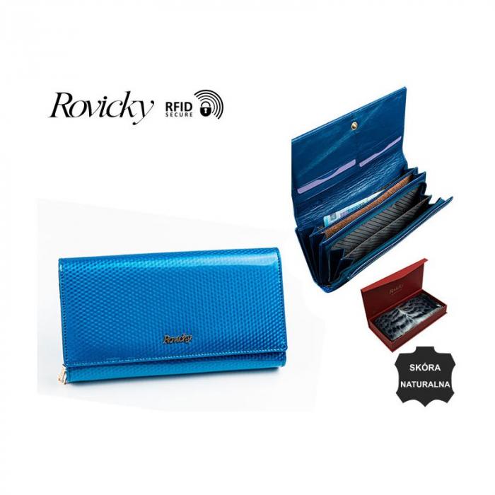 Portofel de lux pentru dama din piele naturala PORTG426, Albastru, Rovicky [14]
