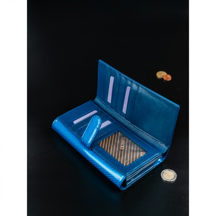 Portofel de lux pentru dama din piele naturala PORTG426, Albastru, Rovicky [9]