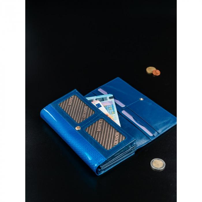 Portofel de lux pentru dama din piele naturala PORTG426, Albastru, Rovicky [10]