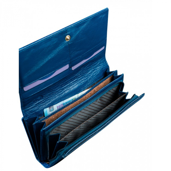 Portofel de lux pentru dama din piele naturala PORTG426, Albastru, Rovicky [1]