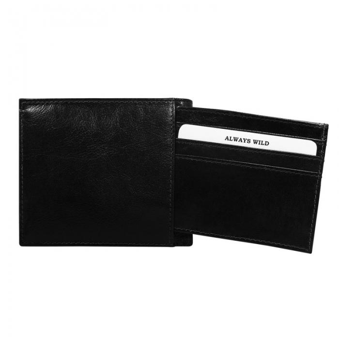 Portofel minimalist / copii, din piele naturala cu portcard detasabil Wild PORM201 Negru 0