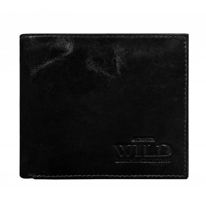Portofel minimalist / copii, din piele naturala cu portcard detasabil Wild PORM201 Negru 1