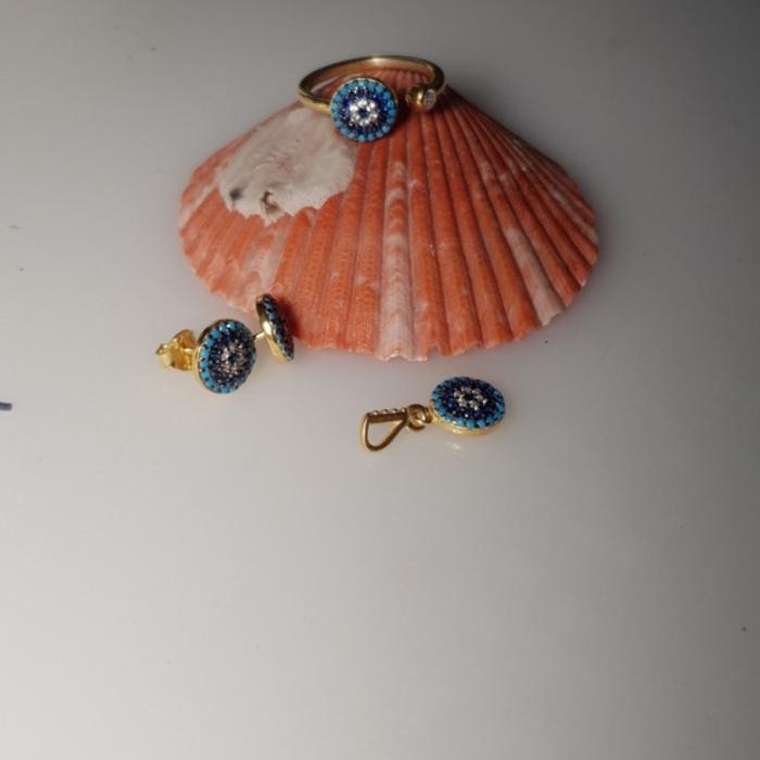 Set argint 925 aurit cu floricele si zirconii multicolore - Be Nature STU0029 2