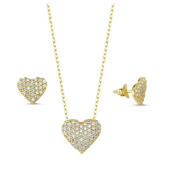 Set argint 925 aurit cu inimioare si zirconii albe - Be in Love STU0009 [0]