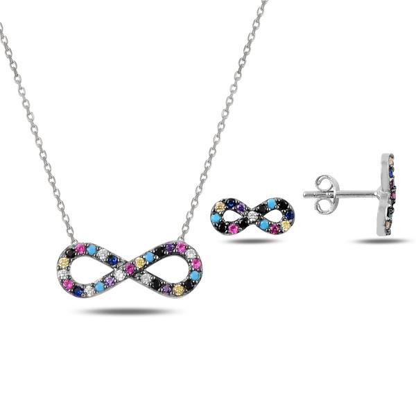 Set argint 925 rodinat cu simbolul infinit si zirconii multicolore - Infinite You STU0046 0