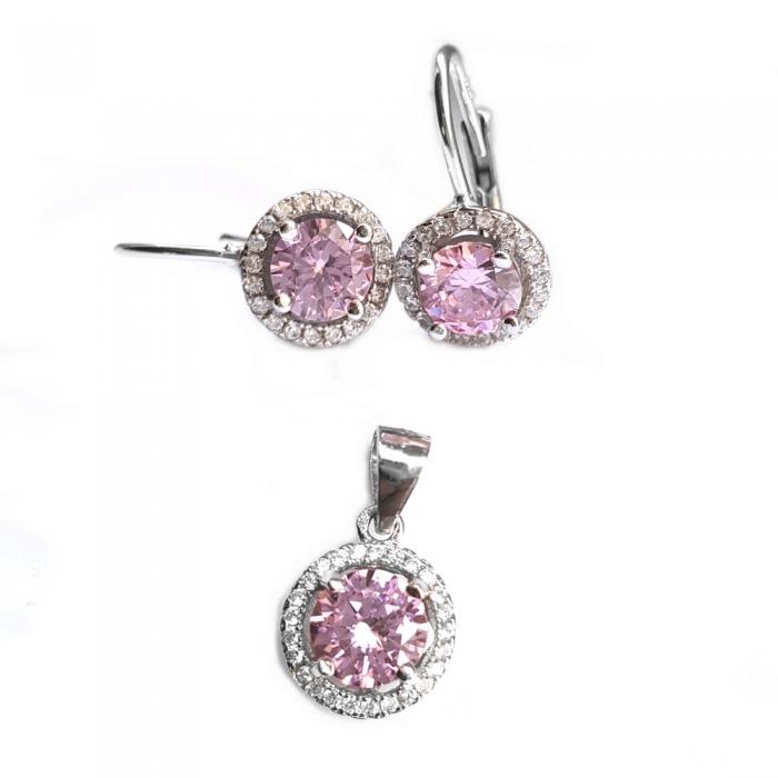 Set argint 925 rodiat cu zirconii roz cercei si pandantiv SET0459 - Be Elegant 0