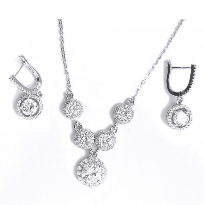 Set elegant argint 925 rodiat cu zirconii cercei si colier SET0457 0