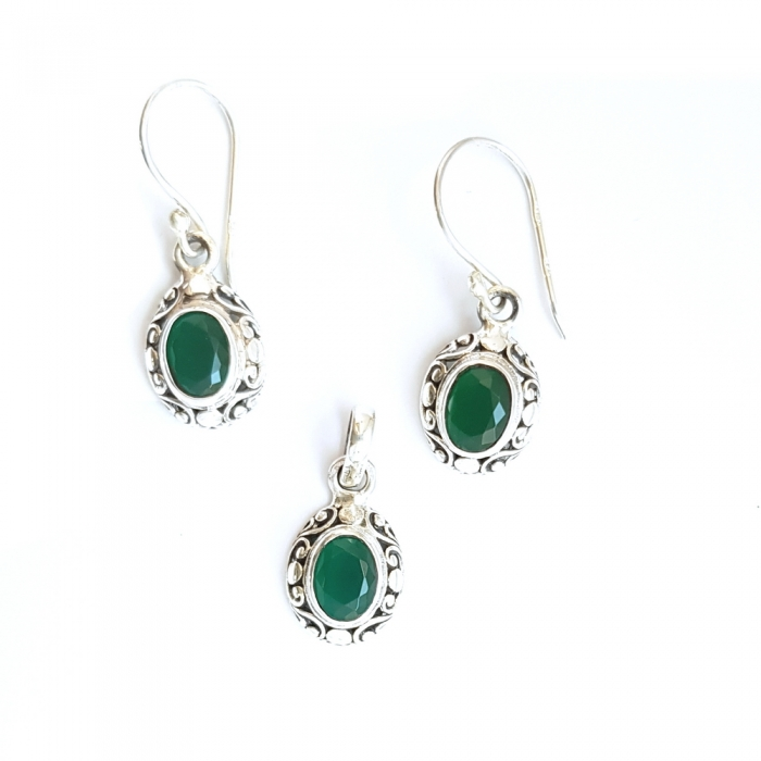 Set argint 925 elegant verde SET0453 0