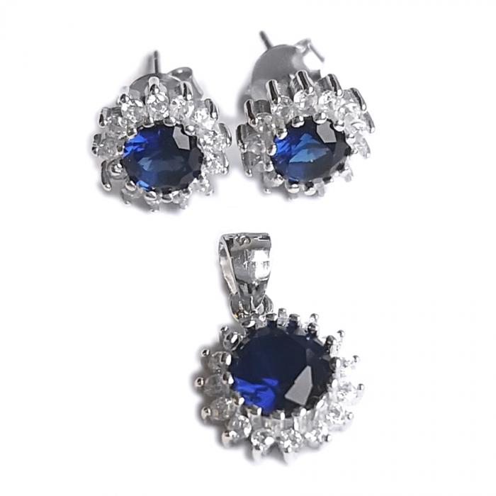 Set argint 925 cu zirconii albastre SET0454 0