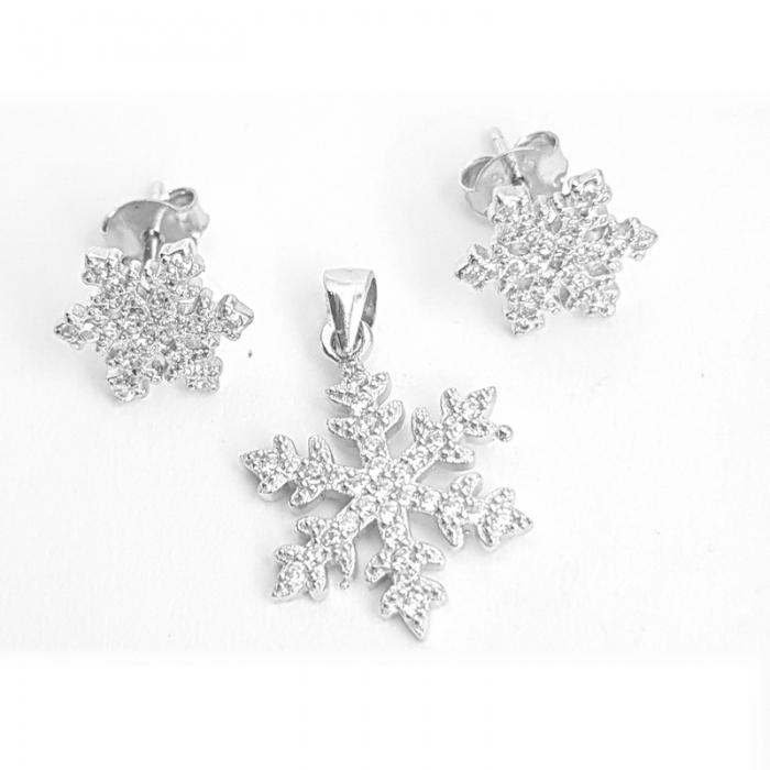 Set argint 925 fulgi de zapada cu zirconii 0