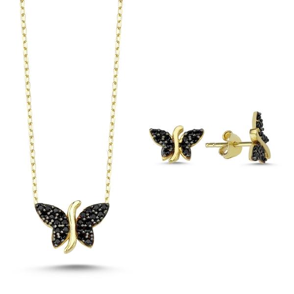 Set argint 925 aurit cu fluturi si zirconii negre - Be Nature STU0037 0