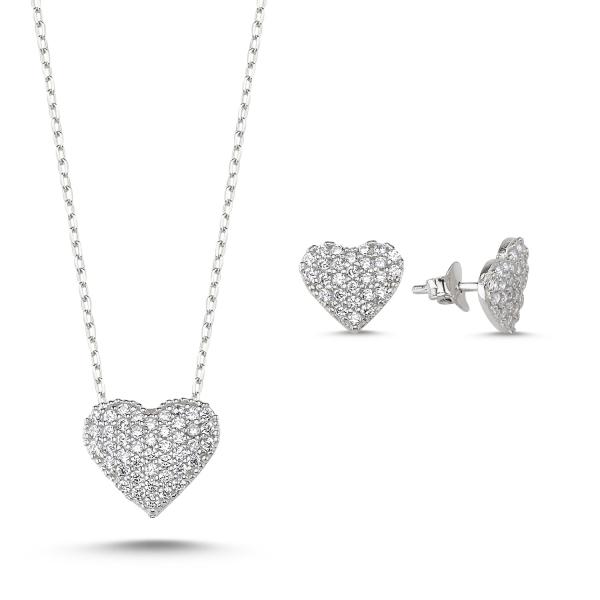 Set argint 925 rodiat cu inimioare zirconii albe - Be in Love STU0025 0
