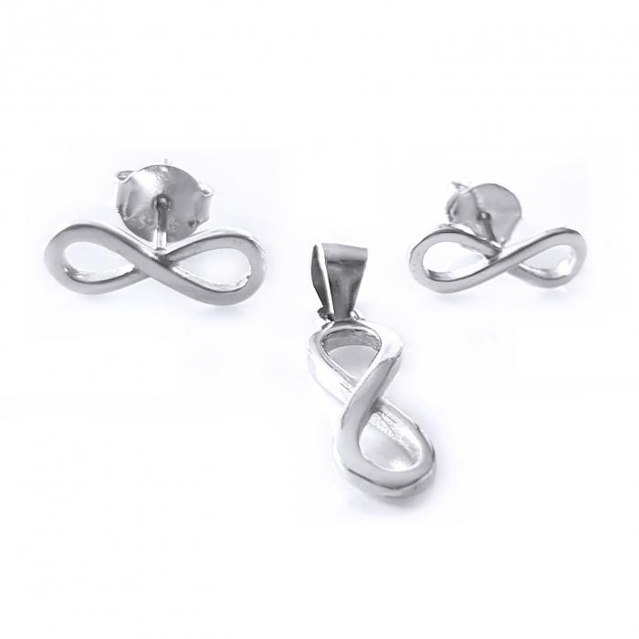 Set argint 925 rodiat cu simbolul infinit SET0465 1