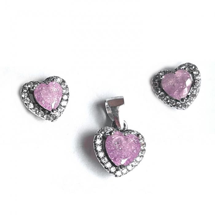 Set argint 925 rodiat inimioare cu zirconii mov SET0418 0