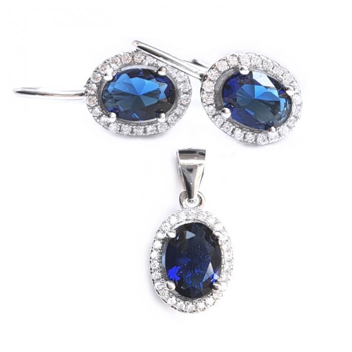 Set argint 925 rodiat cu zirconii albastre cercei si pandantiv SET0461 - Be Elegant 0