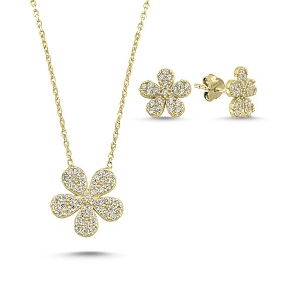 Set argint colier si cercei cu flori si zirconii albe placat cu aur galben - STU0035 0