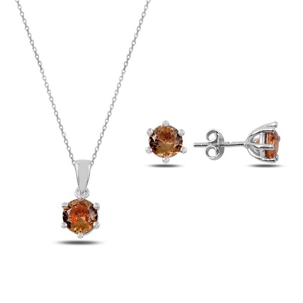 Set argint colier si cercei cu pietre rotunde de zultanit, placat cu rodiu - STU0044 0