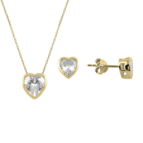Set argint placat cu aur cu inimioare de cristale [0]