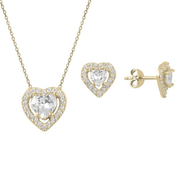 Set argint placat cu aur cu inimioare de cristale 0