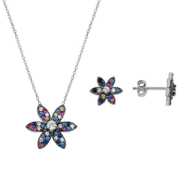 Set argint placat cu rodiu cu flori de cristale 0