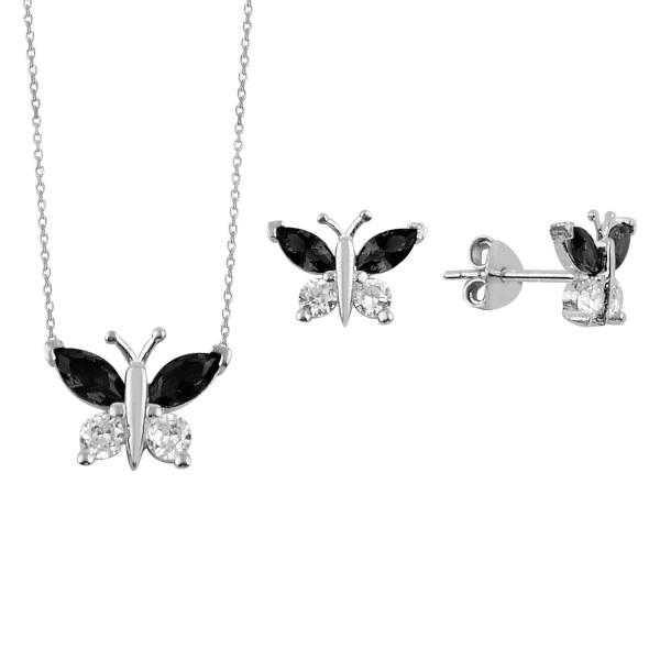 Set argint placat cu rodiu cu fluturasi de cristale 0