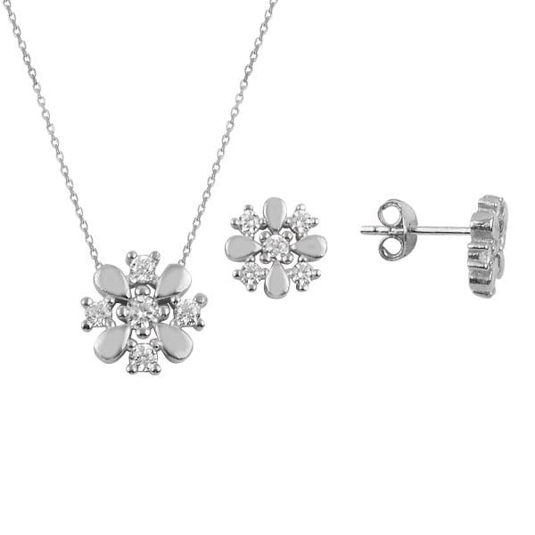 Set argint placat cu rodiu cu fulgi de zapada si cristale [0]