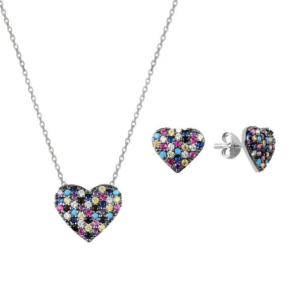 Set argint placat cu rodiu cu inimioare de cristale 0