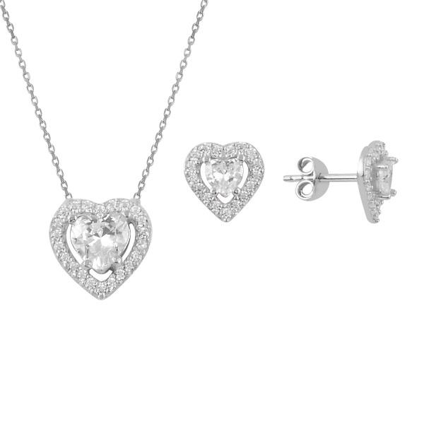 Set argint placat cu rodiu cu inimioare de cristale [0]