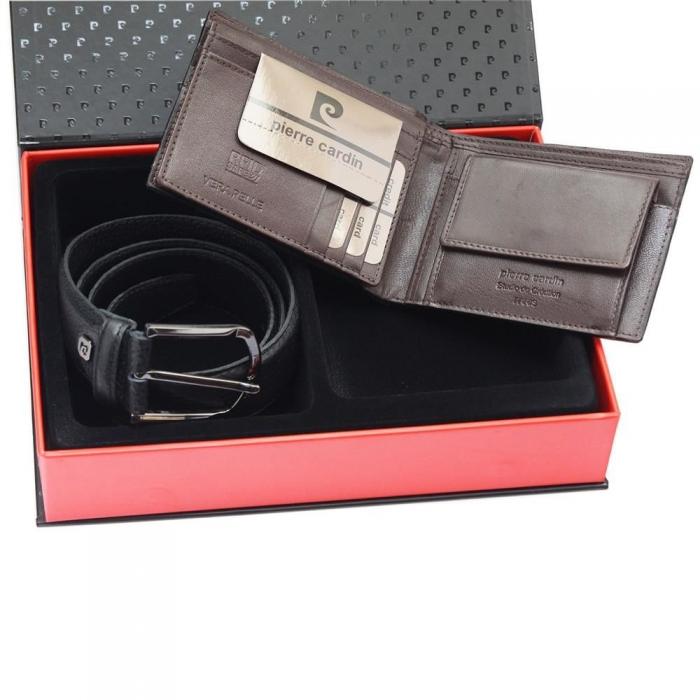 Set cadou barbati din piele naturala (portofel + curea) Pierre Cardin PORM801 2