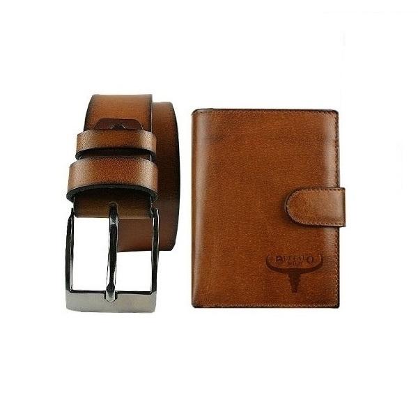 Set cadou barbati (portofel + curea) din piele naturala Wild BuffalOPORM636 0