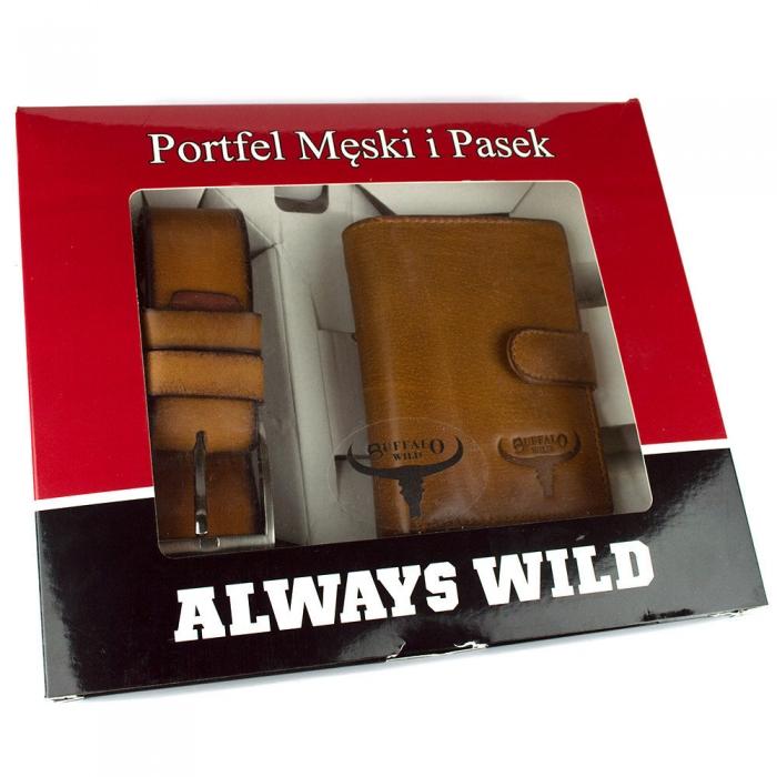 Set cadou barbati (portofel + curea) din piele naturala Wild BuffalOPORM636 11