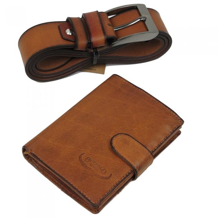 Set cadou barbati (portofel + curea) din piele naturala Wild BuffalOPORM636 1