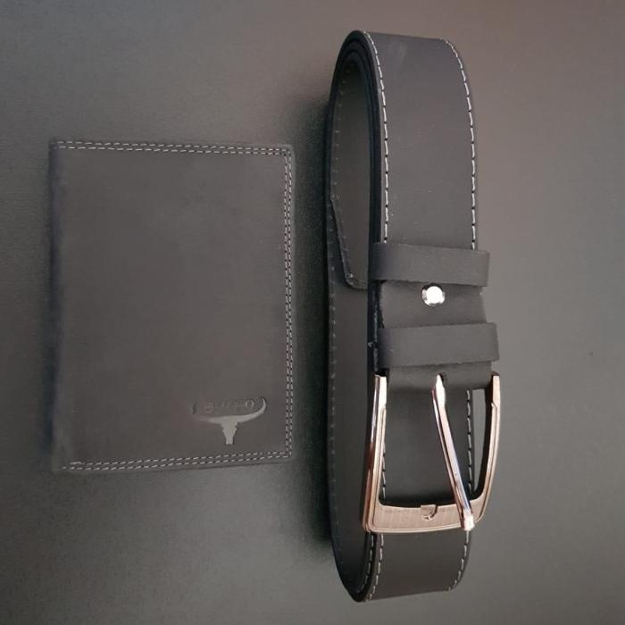 Set cadou barbati Wild BuffalO, portofel si curea din piele naturala, PORMG900 18