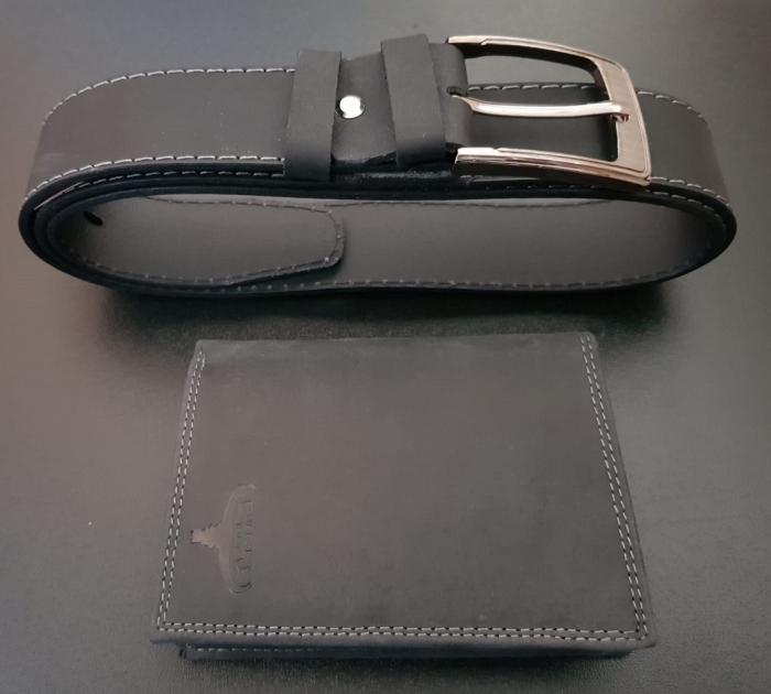 Set cadou barbati Wild BuffalO, portofel si curea din piele naturala, PORMG900 4
