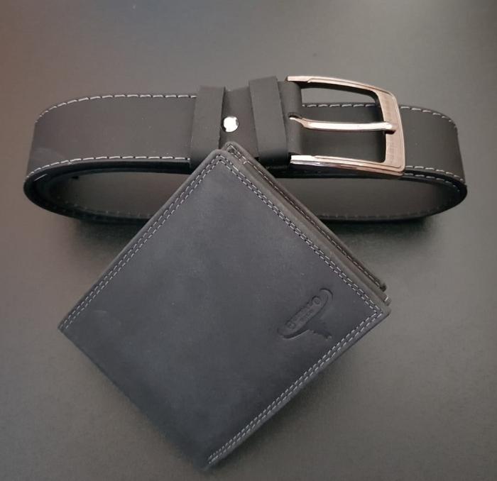 Set cadou barbati Wild BuffalO, portofel si curea din piele naturala, PORMG902 25