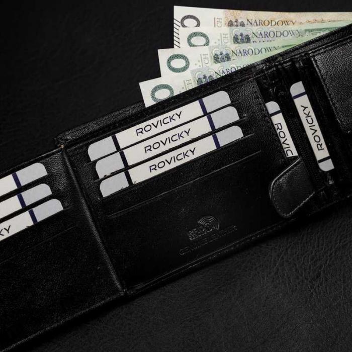 Set cadou barbati, portofel si curea din piele naturala, Rovicky, PORMG903, cu RFID 3