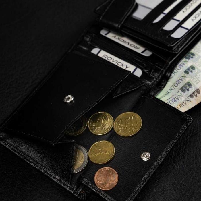 Set cadou barbati, portofel si curea din piele naturala, Rovicky, PORMG905, cu RFID 8