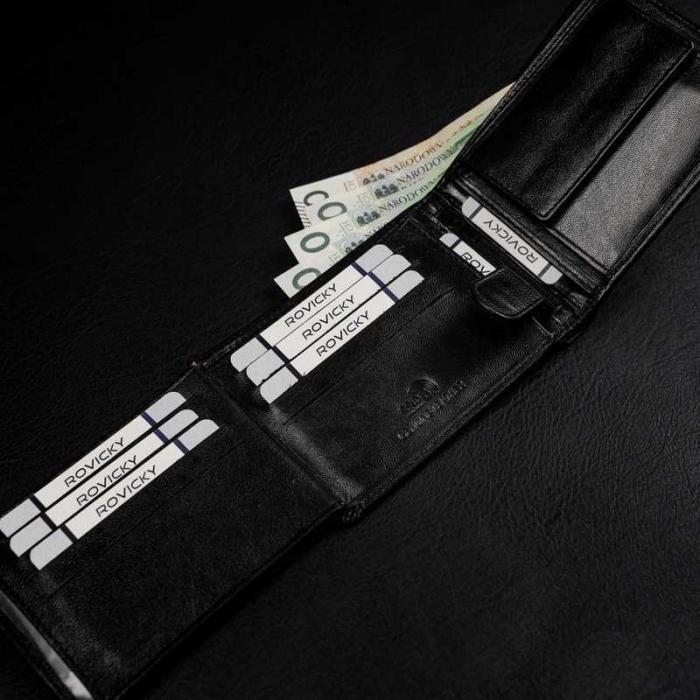 Set cadou barbati, portofel si curea din piele naturala, Rovicky, PORMG905, cu RFID 11