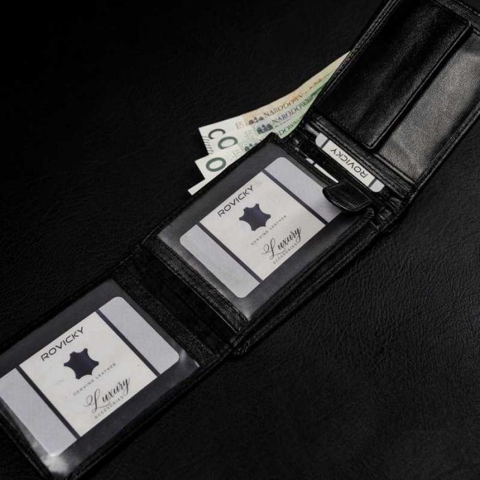 Set cadou barbati, portofel si curea din piele naturala, Rovicky, PORMG905, cu RFID 5