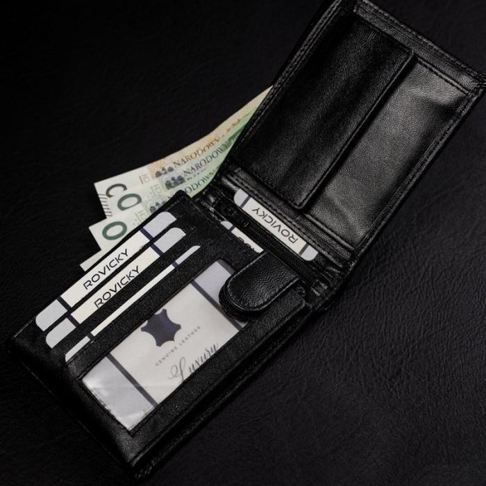 Set cadou barbati, portofel si curea din piele naturala, Rovicky, PORMG905, cu RFID 10
