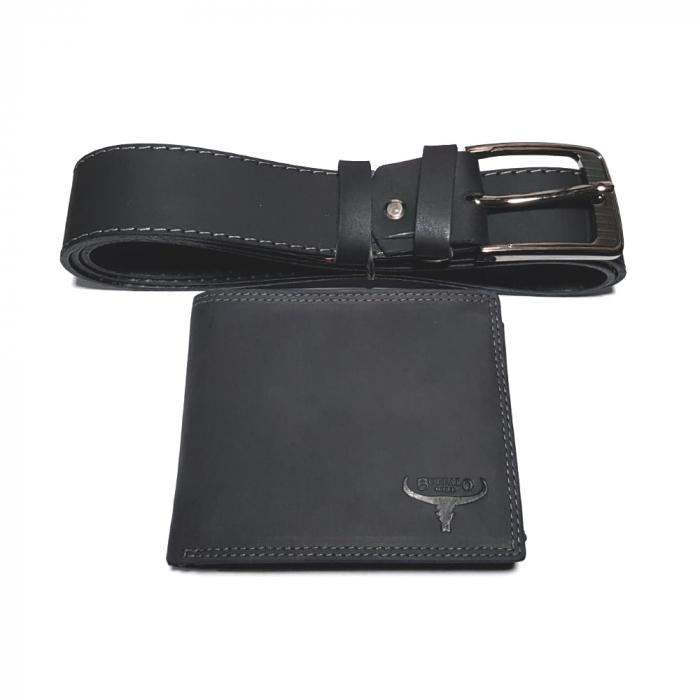 Set cadou barbati Wild BuffalO, portofel si curea din piele naturala, PORMG902 0