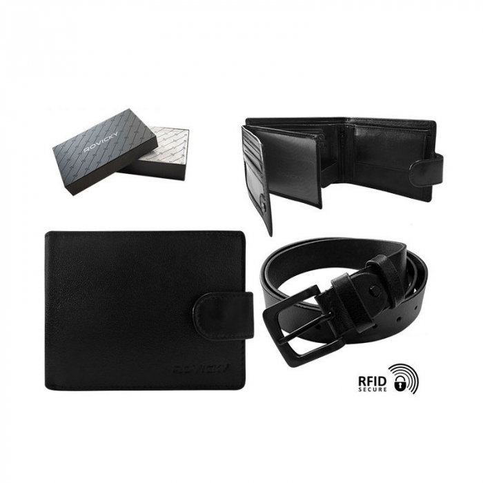Set cadou barbati, portofel si curea din piele naturala, Rovicky, PORMG903, cu RFID 12