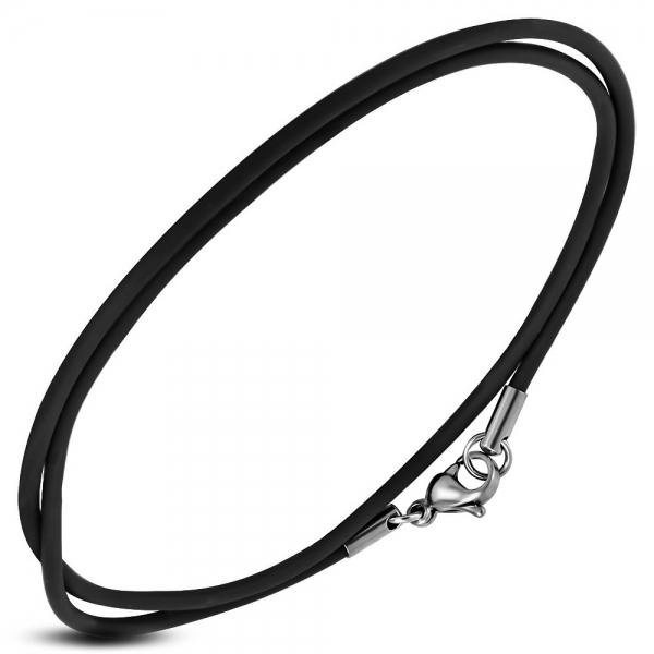 Snur cauciuc negru si incuietoare din argint 925 lungime 55 cm 0
