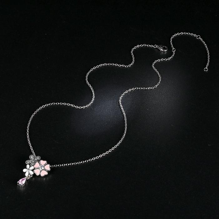 Talisman argint 925 cu lant, floricele si zirconii albe - Be Nature CST0002 2