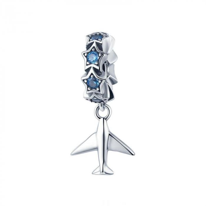 Talisman argint avion cu zirconii [0]