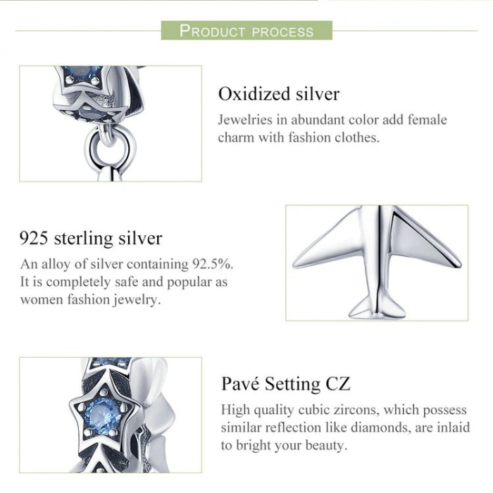 Talisman argint avion cu zirconii [6]