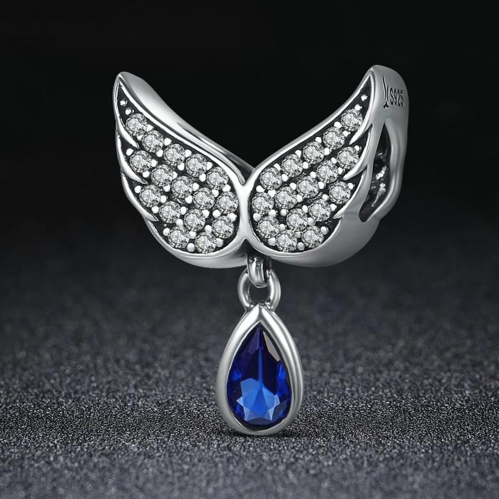 Talisman argint cu aripi de inger si zirconii [3]